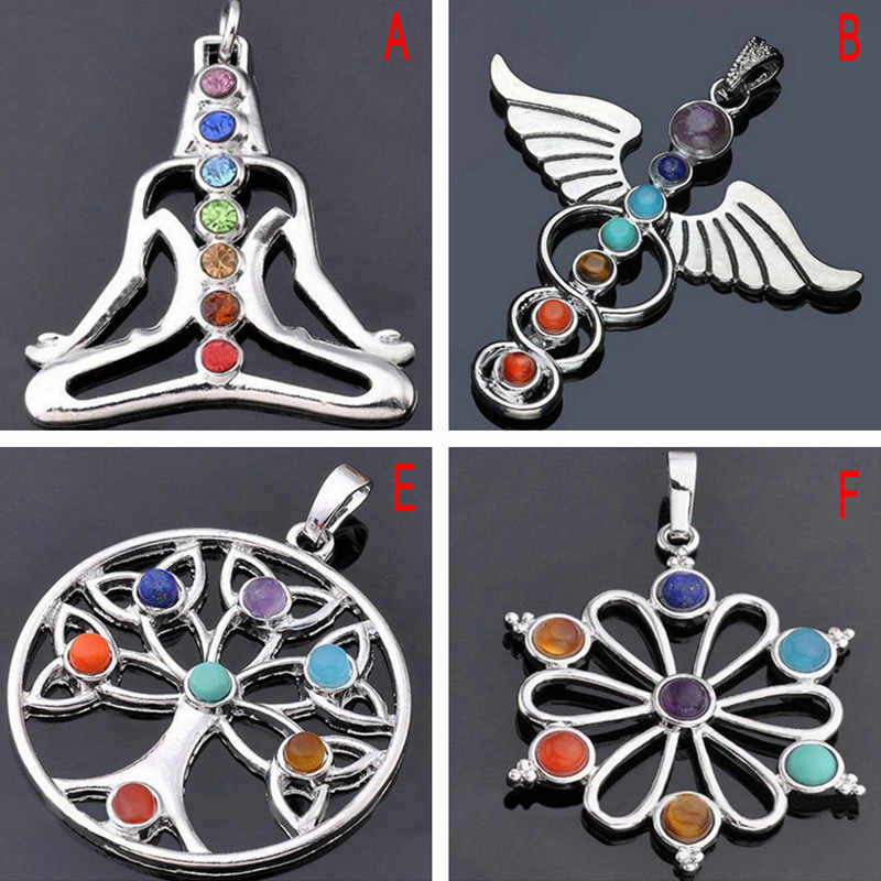 6 Style Reiki Chakra Pendant 7 Chakra Stones Natural Stone Pendant Semi Stones Choker Necklace For Women Jewelry