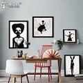 Cuadro Nórdico Decoración Arte de La Pared Pintura de la Lona Posters And Prints Negro Chica de Pared Cuadros Para la Sala Sin Marco Del Cartel