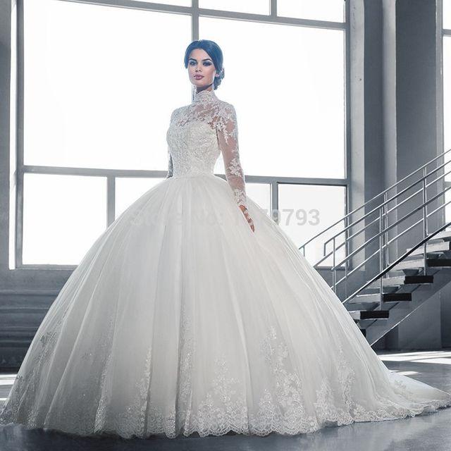 de cuello alto de encaje de manga larga musulmán vestidos novia 2016