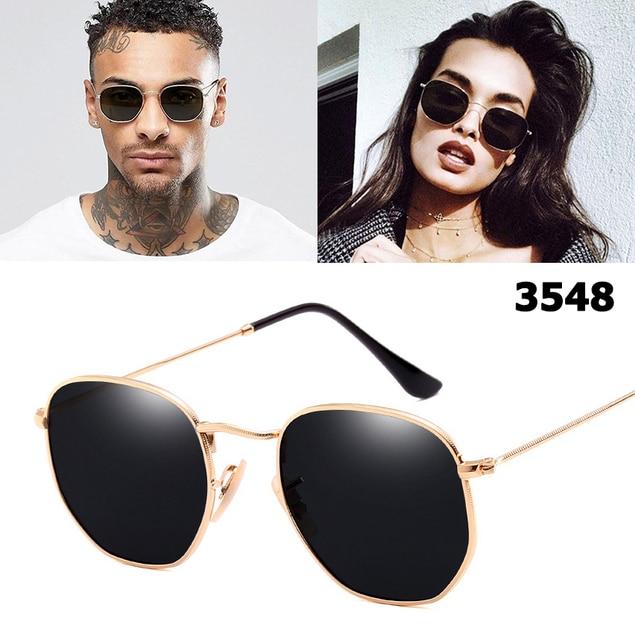 4fa4bd229 JackJad Vintage Retro 3548 Metal Style Sunglasses Hexagonal Flat Lenses  Brand Design Glasses Oculos De Sol