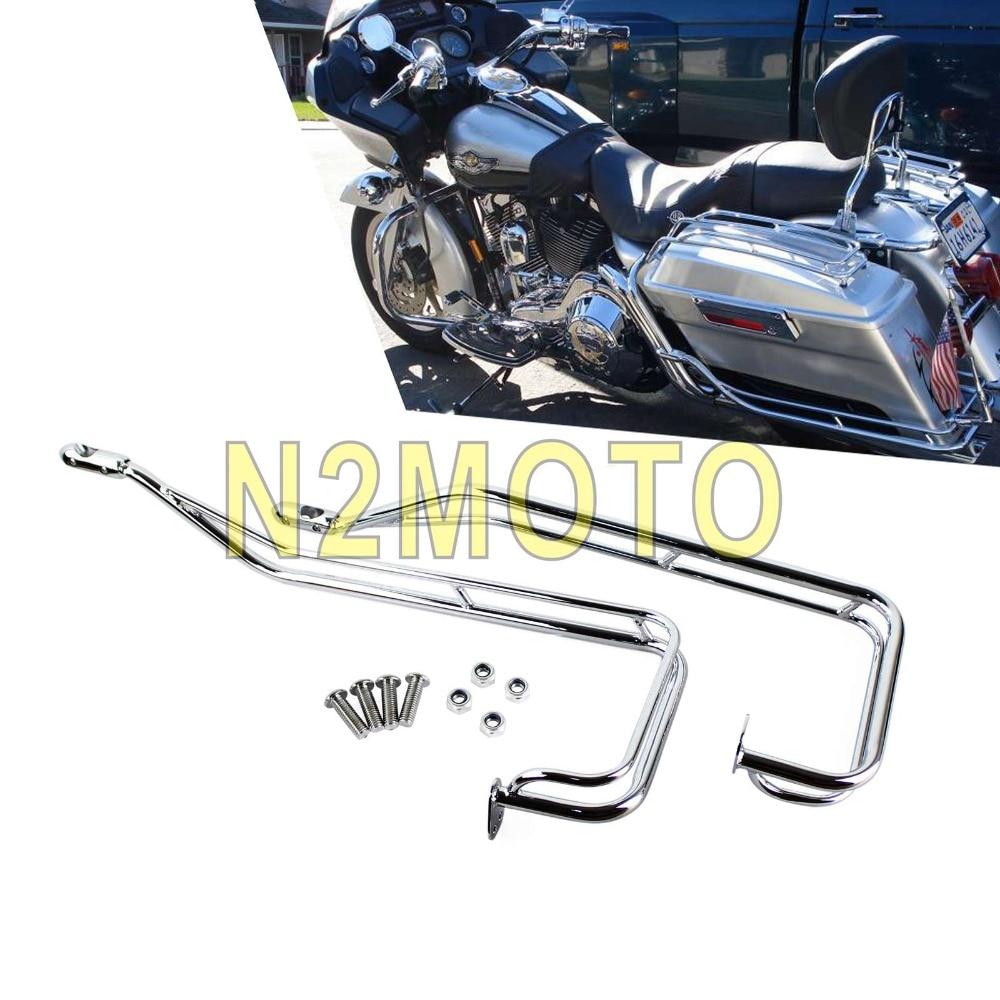 Chrome Motorcycle Twin Side Saddlebag Rail Guard Bar Kit Passenger Side Box Bag Guard Protection for