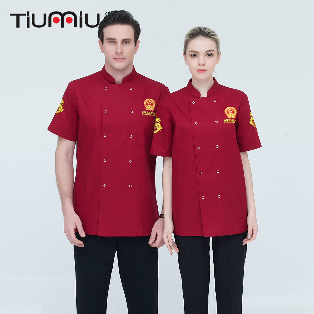M-4XL Wholesale Chinese Restaurant Chef Short-sleeve Double Breasted Uniform Kitchen Work Jacket Catering Cook Bakery Uniform