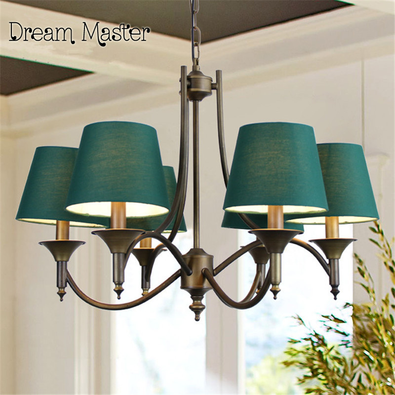 Wrought Iron Chandelier Mediterranean style living room dining room lamp bedroom green creative European style rural minimalist korean princess wrought lamp iron bedroom led lamp american pastoral style living room children chandelier