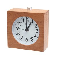 Charminer Silent Square Wooden Alarm Clock Desktop With Nightlight Snooze Battery Powered Wood Alarm Clock