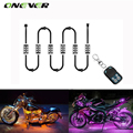 Onever RGB LED Strip Light 6pcs LED  Motorcycle Light Car Style Decorative Atmosphere Lamp 5050SMD Kit With Wireless Remote