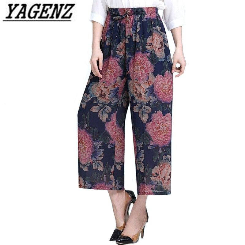 Middle-aged Lady   Wide     leg     pants   Summer Female Chiffon   Pants   Print National Wind elastic waist Loose Casual   Pants   Plus size 5XL