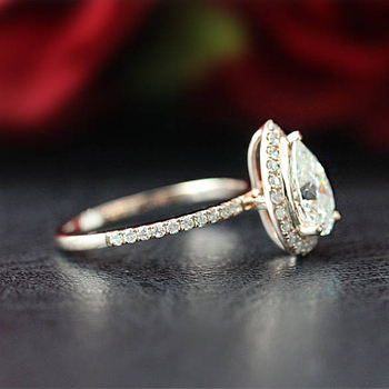 1.5ct 9X6mm Pear Cut Moissanite Halo Engagement Ring Classic 14K 585 Rose Gold Moissanite Ring Set Anniversary Ring 1