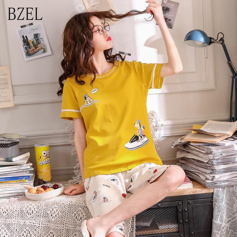 BZEL New Summer Cartoon   Pajamas     Sets   Women Cute Nightgown Knee Length Pants Ladies Sleepwear Cotton Home Wear 2Pcs/  Set   Clothing
