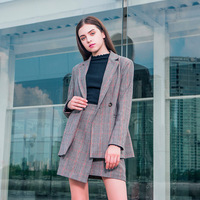 New wind of fund of autumn winters is professional female temperament contracted E0938 grid small suit jacket coat