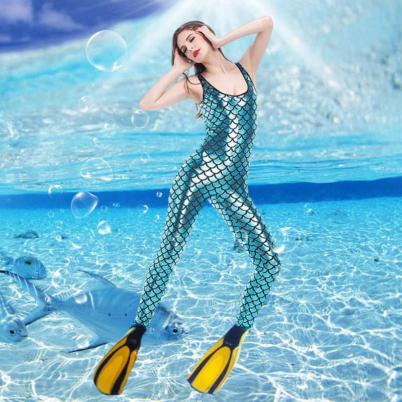 Mermaid Costume Sea Blue Cosplay Jumpsuits Reversible Sparkly Color Mermaid Costume for Night Party or Nightclub DS