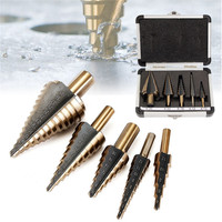 5PCS HSS Spiral Step Grooved Drill Bit Set High Speed Steel For Home And Industrial Durable