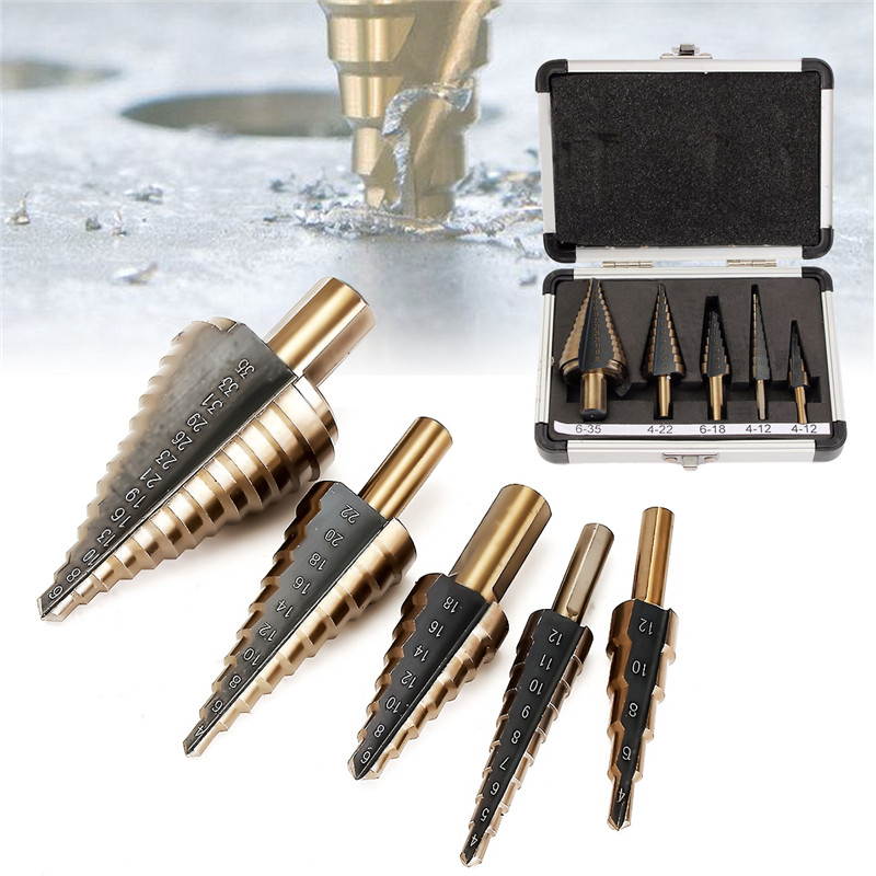 5PCS HSS Spiral Step Grooved Drill Bit Set High Speed Steel For Home And Industrial Durable Quality 13pcs set hss high speed steel twist drill bit for metal titanium coated drill 1 4 hex shank 1 5 6 5mm power tools par ad1038
