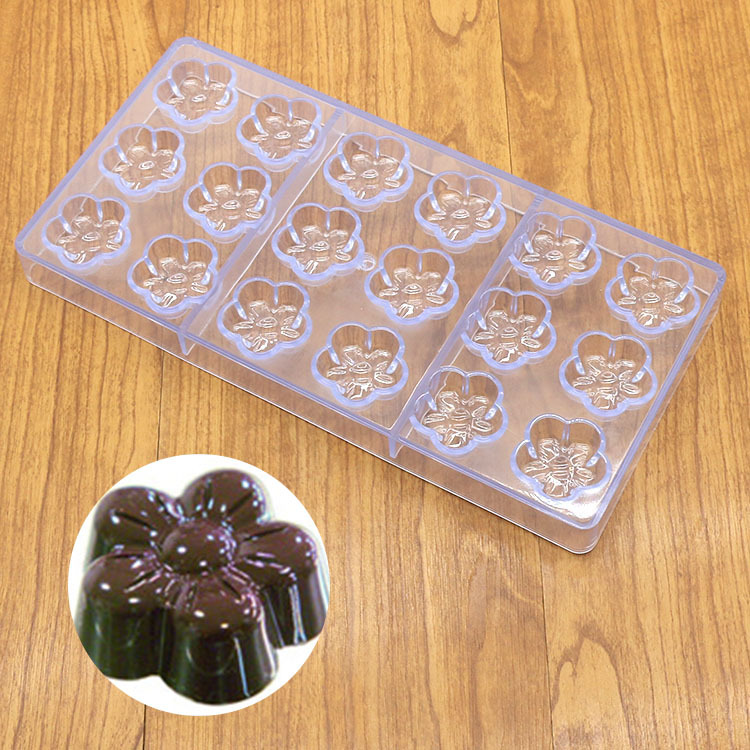 3D DIY Chocolate Mould Plum Flower Shaped Polycarbonate Cake Decor 18 Candy Mold