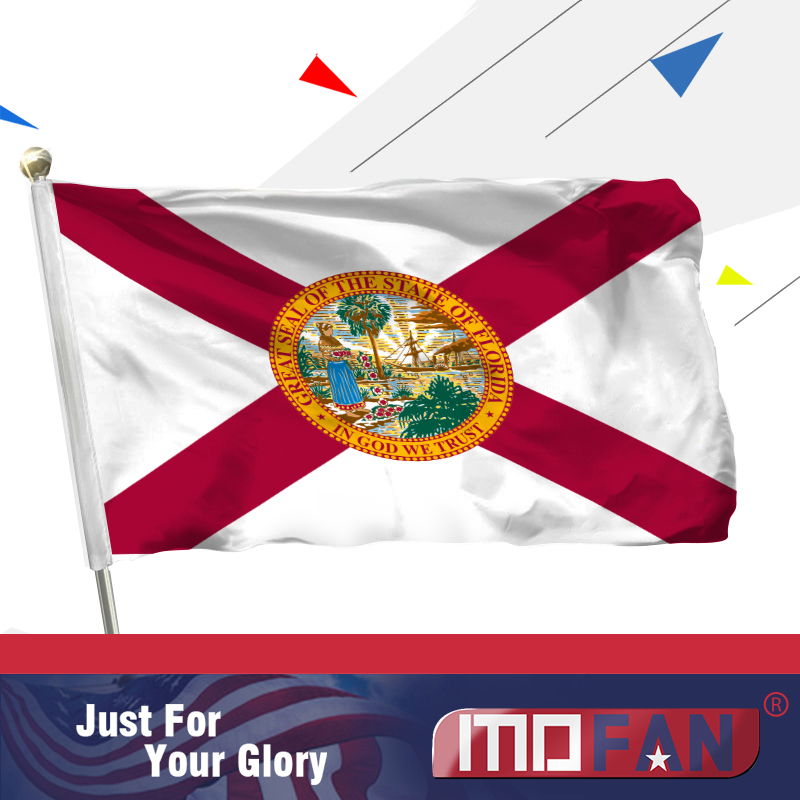 MOFAN Флорида штаты Тудың АҚШ- жоғары сапалы және екі жақты тігілген - FL 2 жезден жасалған гимні бар мемлекеттік жалау полиэстер 3x5 Ft