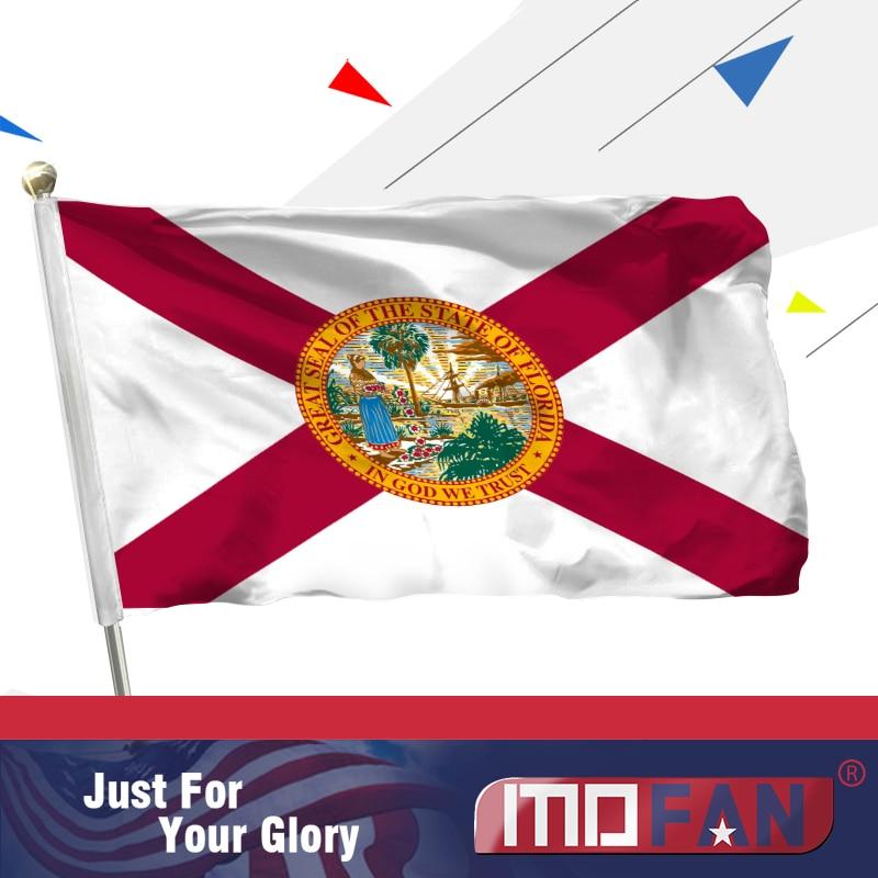 MOFAN Florida State Flag US- Kualiti Tinggi dan Double Stitched - FL Bendera Negeri dengan 2 Brass Grommets Polyester 3x5 Ft