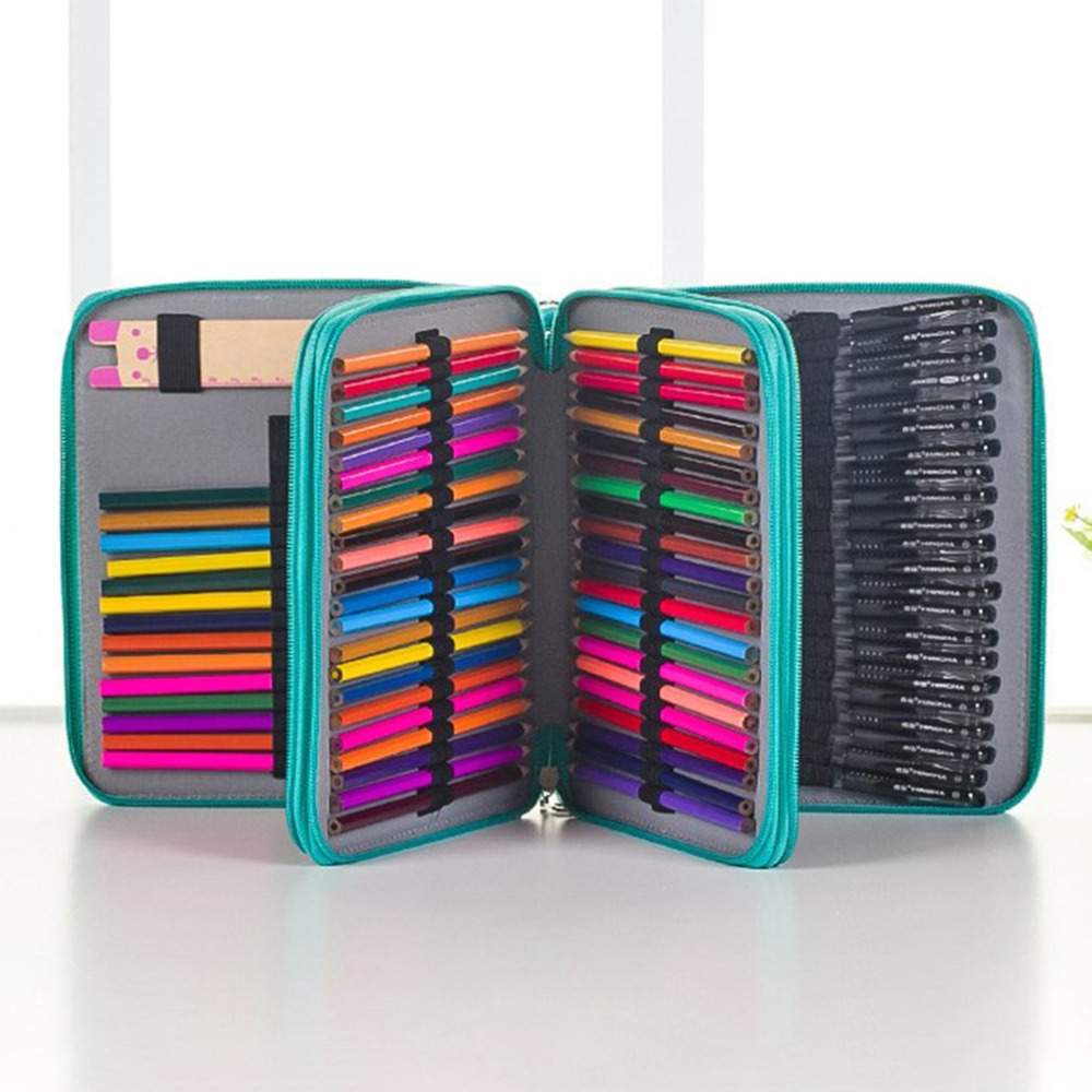 124 Slots 4 Layers Portable PU Leather School Pencils Bag Large Capacity For Colored Pencils Watercolor Art Supplies 124 slots 4 layers pencil bag case portable children school stationery big capacity for colored pencils student office supplies