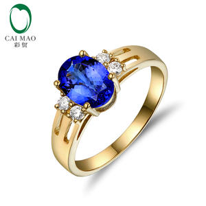 Caimao Jewelry 14kt Yellow Gold Natural 1.1ct Tanzanite & Diamonds Engagement Ring