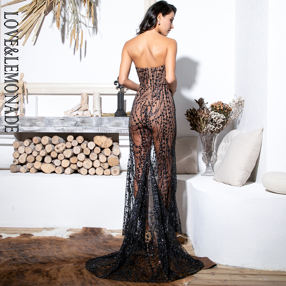 Love&Lemonade Sexy Black Strapless Cut Out Geometric Element Glitter Glued Material Bodycon Maxi Dress LM81530