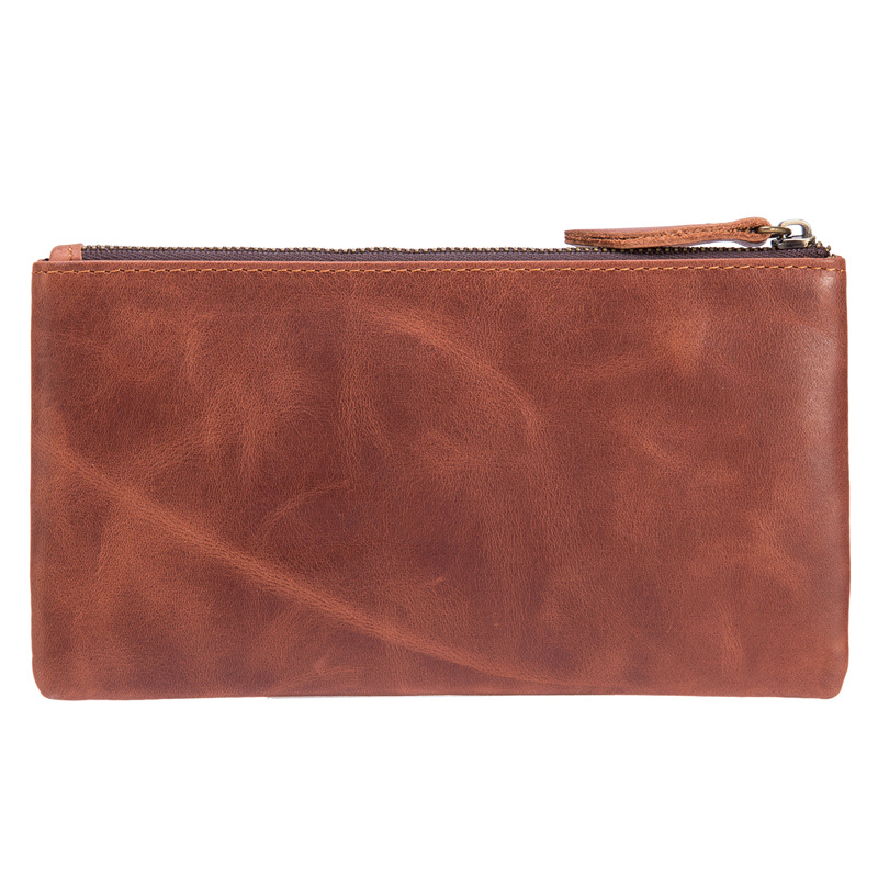Genuine Leather Wallet Long Zipper Coin Purse Money Cash Dollar Purse Card Holder Phone Bags Portable Men Wallets 4021