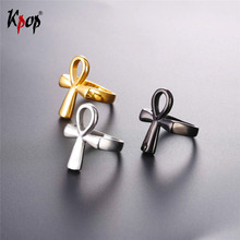 Фотография Kpop Ankh Egyptian Cross Key of the Nile Rings For Men/Women Wholesale Stainless Steel Gold/Black Color 2017 Jewelry Ring R2591