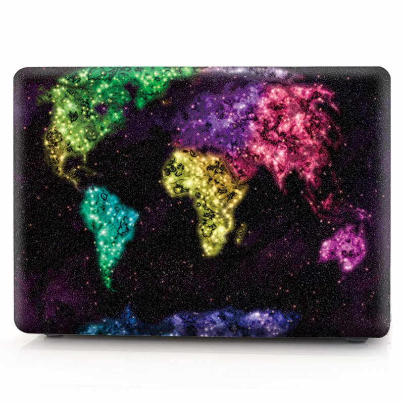 Customized World Map Flags Paint Hard Rubberized Laptop Case
