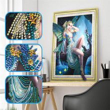 5d DIY Butterfly Girl Diamond Embroidery Special Shape Painting Rhinestone Crystal Home Decoration 40x50cm