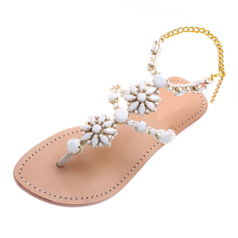 2017 Fashion Women Summer Rhinestone Beach Gladiator Sandals Ladies Flat Chain Slides Flip Flop Shoes zapatos mujer Plus size 47 new 2016 women rhinestone gladiator sandals summer flat casual shoes beach slippers size 35 39