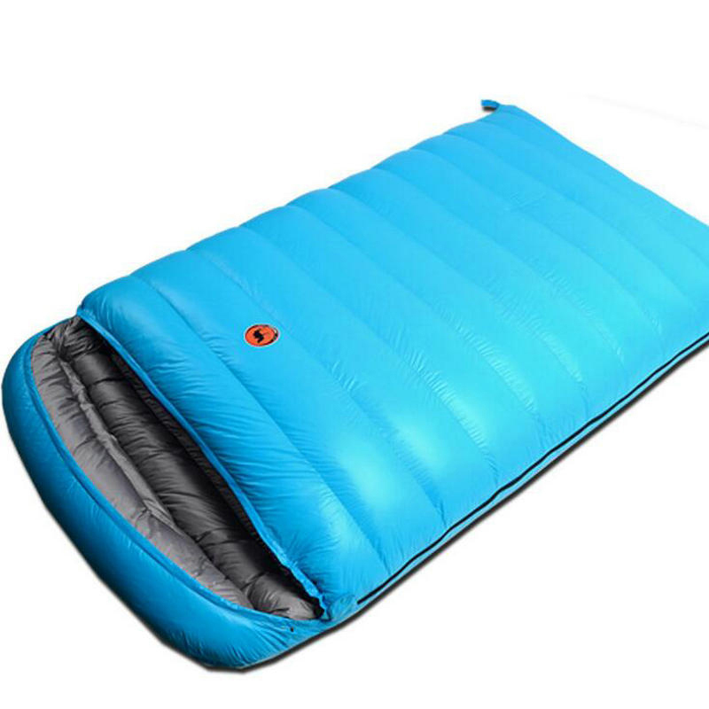 Brand Quality Goose Down Double Sleeping Bag Envelope Waterproof Thermal Bag Winter Outdoor Camping Sleeping Bag Fast Shipping