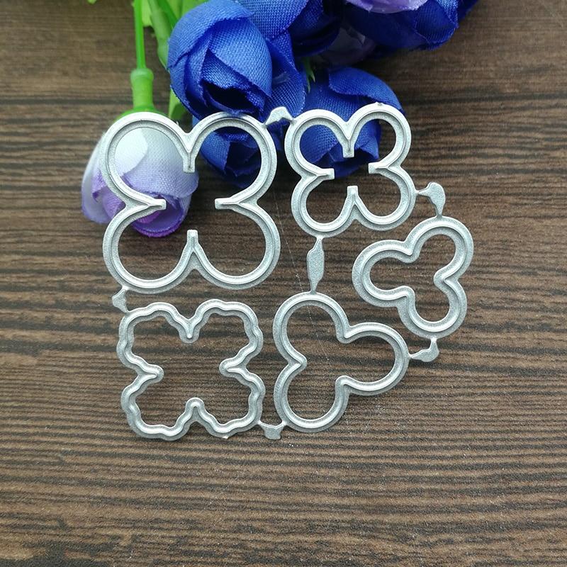 5pcs Flower Decoration Metal Cutting Dies Stencil Scrapbooking Photo Album Card Paper Embossing Craft DIY 52*57mm