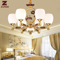 Modern New Chinese style LED Chandelier Lights E256 in the Living Room Zinc Alloy Jade Glass lighting fixtures lampadari