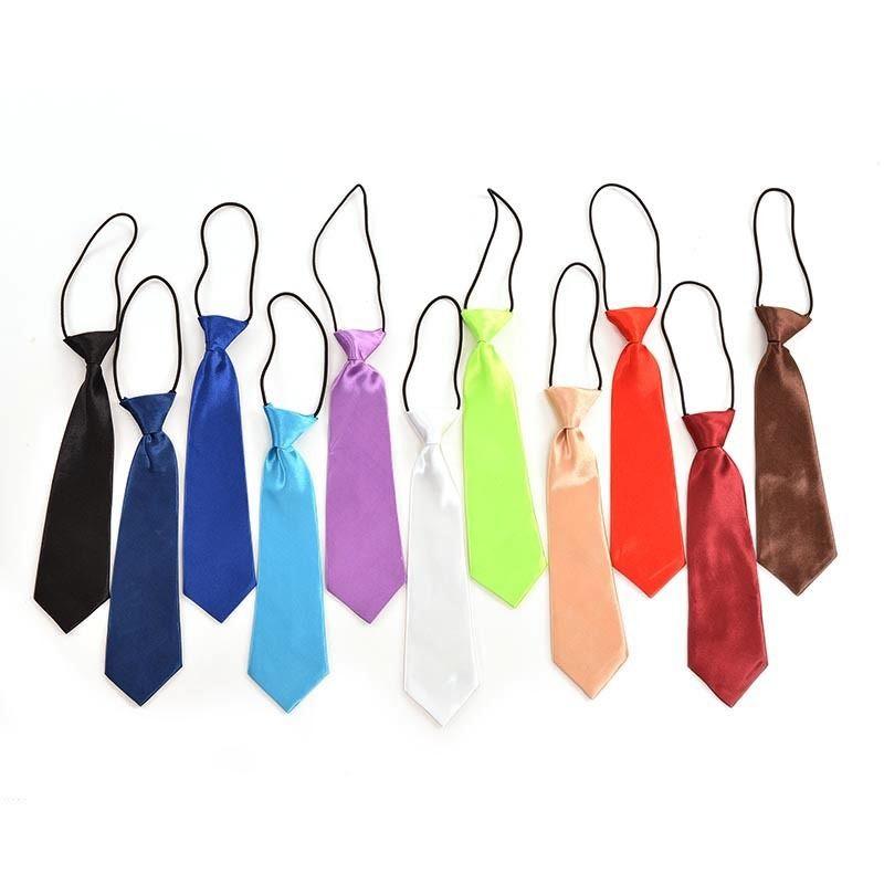 2018 Großhandel Jungen Krawatte Kinder Baby Schule Boy Hochzeit Krawatte Krawatte Elastische Feste Farbe Fleck