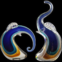 Europe glass a pair of Elephant figurines High quality tabletop crystal animal miniature Crafts home decoration Wedding gift