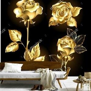 Hot Sellers Rose Wallpaper,Set Of Gold, Shining Roses ,retro Pattern For The Living Room Bedroom Restaurant Background Wall Vinyl Wallpaper
