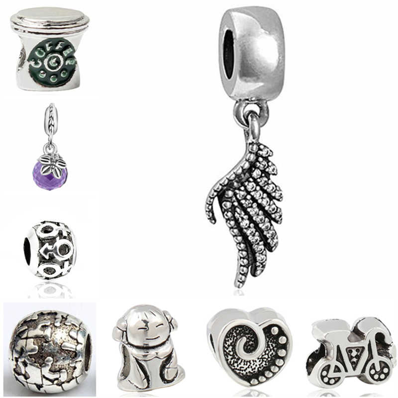 Btuamb Punk Hollow Ball Star Anchor Love Heart Crystal Angel Wings Enamel Beads Fit Charm Pandora Bracelets for Women Jewelry