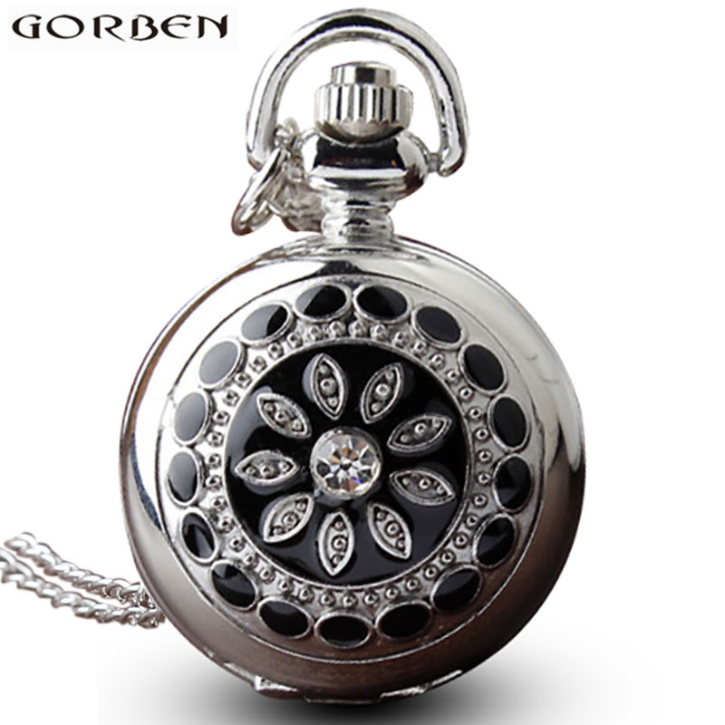 Silver Flower Pattern Diamond Dress Quartz Pocket Watch Necklace With Hanging Sweater Fashion Chain Clock Pendant For Women