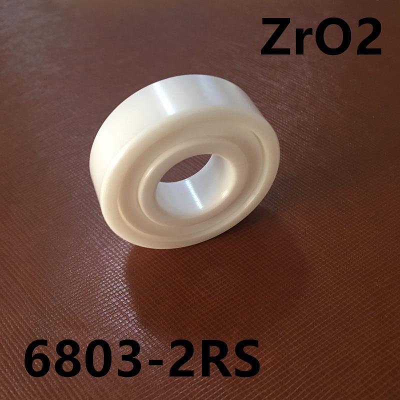 Free shipping 6803-2RS full ZrO2 ceramic deep groove ball bearing 17x26x5mm 61803-2RS 6803 2RS MT bearing, bike bearing free shipping 6803 full si3n4 ceramic deep groove ball bearing 17x26x5mm 61803 bearing high quallity by haokun
