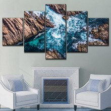 Unique 5 Panel Nature Landscape Canal Rocks Painting Modern Wall Artwork Top-Rated Canvas Print Type Style Home Decor Poster