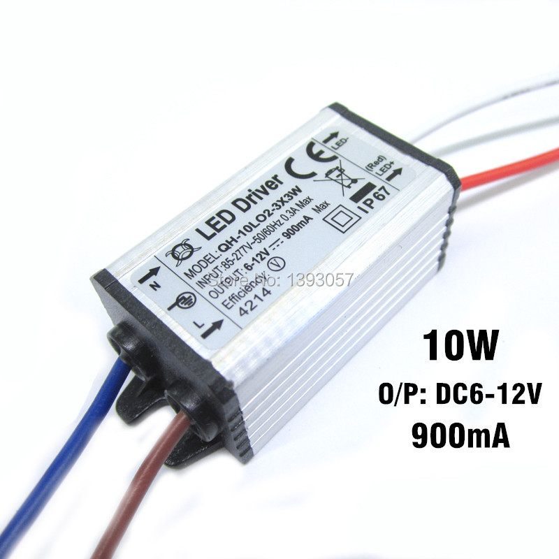1 stk 10w 900mA 2-3x3 LED strømforsyning Høj kvalitet LED driver DC6-12v Vandtæt IP67 Flomlys konstant strøm driver