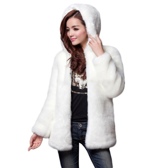e11f07dc195 Hot Winter Thick Women s Faux Fur Medium-long Hooded Rabbit Fur Jacket Plus  Size S-3XL-5XL white