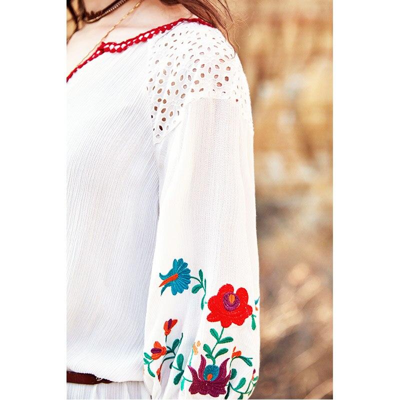 Lanterne Nouveau 2018 A Blanc Broderie Cadrage Lâche Robe Été Mini Couture Artka En La11589x Manches ligne V Bohème Creux Col PE1Cqw