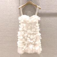 New Spring / Summer 2018 Learn to Stitch Bead Crochet Mini Dress Embroidery Gauze Lace Spaghetti Strap Strapless Dress