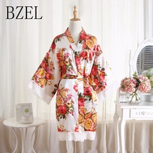 BZEL 2019 Women Robes Short Floral Sleepwear Female Silk Satin Bathrob