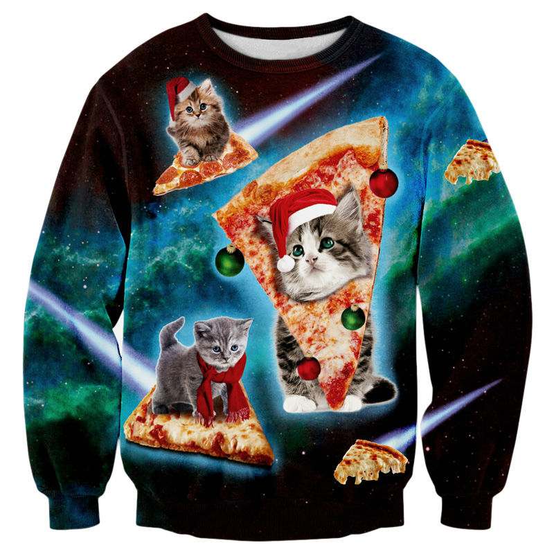 christmas jumpers men hoodie funny 3d print cats space