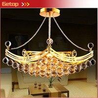 Лучшая цена роскошный кристалл Люстры подвесной светильник золотой кристалл потолочный светильник подвесной люстры производитель Беспла