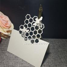 50 шт. Лазерная резка маленькая пчелка дизайн бумаги место имя свадебные пригласительные открытки Baby Shower День Рождения Вечеринка стол карты