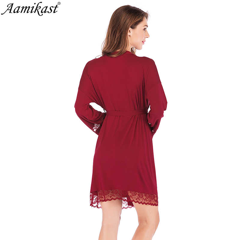 Aamikast Sexy Модальные Короткие атласная невесты халат кружева кимоно Для женщин Свадебная Пижама летние женские халат белье одежда Hom