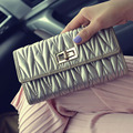 Famous Brand PU Long Ruffled Wallet Women's Fashion Women Solid Hasp Clutches Lock Catch Purse Socialite Billfold Handbags