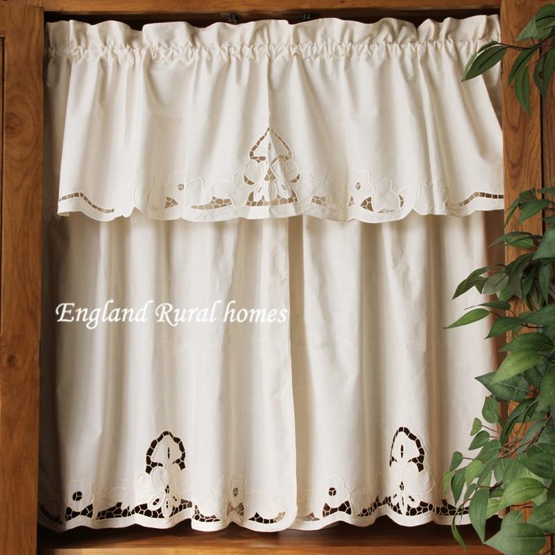 White Vintage Kitchen Curtains: Senisaihon Roman Curtain Fashion Crochet White Retro Set