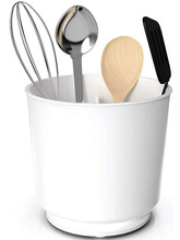 Extra Large and Sturdy Rotating Utensil Holder Caddy with No Tip Weighted Base, Removable Divider, And Gripped Insert