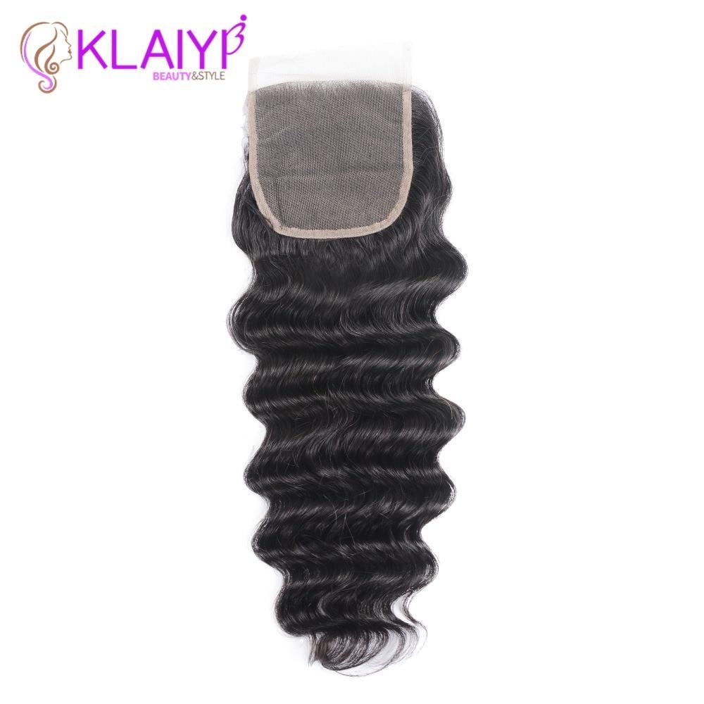 Klaiyi Brazilian Loose Deep Wave Closure Free Part 100% Human Hair Lace Closure 10
